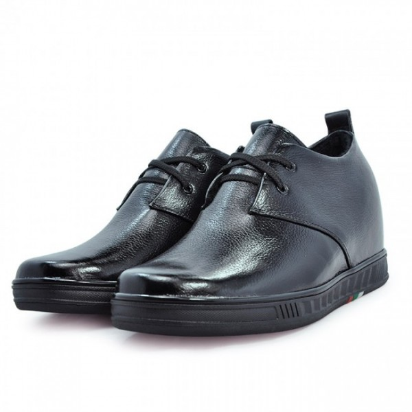 2.75Inches/7CM Heighten Black Calf Leather Heihgt Increasing Elevator Shoes