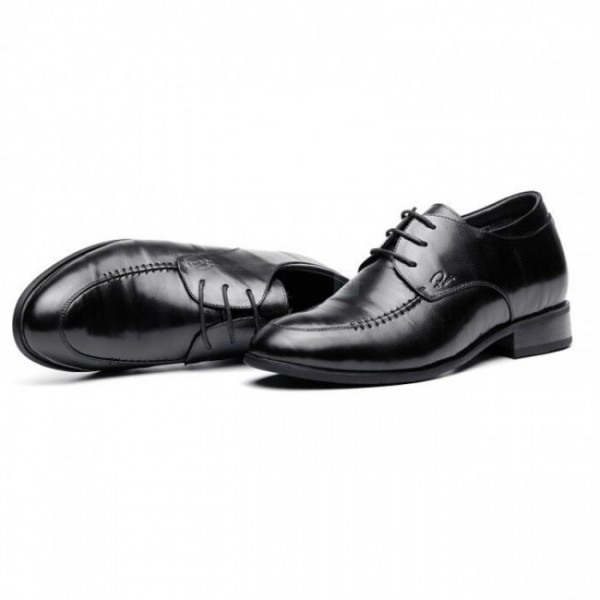 3.2Inches/8CM Black Lambskin Leather Elevator Dress Business Formal Shoes