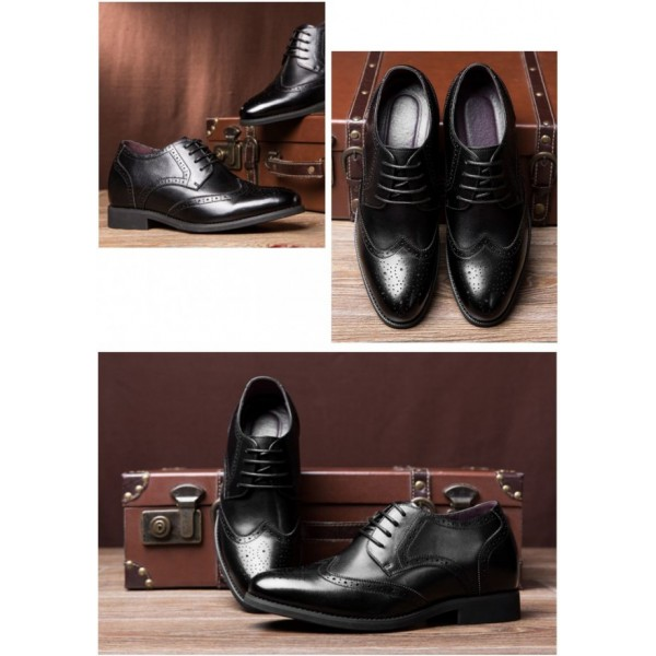 2.36Inches/6CM Black Brogue Elevator Business Lift Shoes