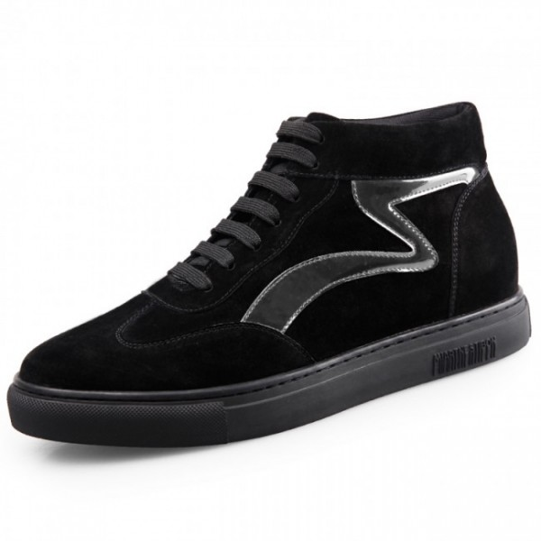 2.2Inches/5.5CM Hidden Heel Black High Top Sneakers Skateboarding Shoes