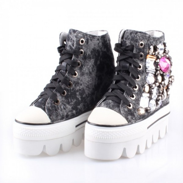 Women Beaded Denim 5Inches/13CM Height Increasing Casual Elevator Shoes