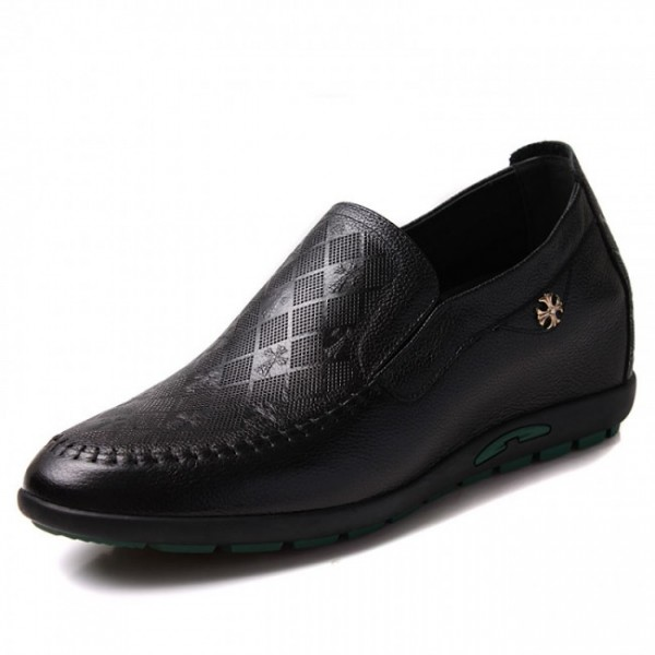 2.36Inches/6CM Black Leather Elevator Drivers Shoes