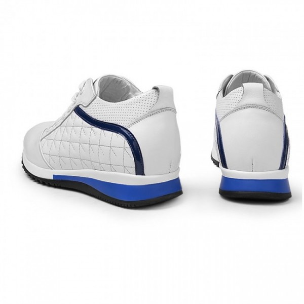Men 2.17Inches/5.5CM White Calfskin Sneakers  eight Increasing Sports Shoes