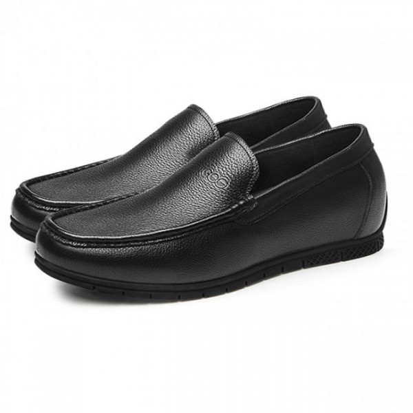 2.2Inch / 5.5cm Black Hidden Lift Loafers Soft Cowhide Slip On Driving Shoes
