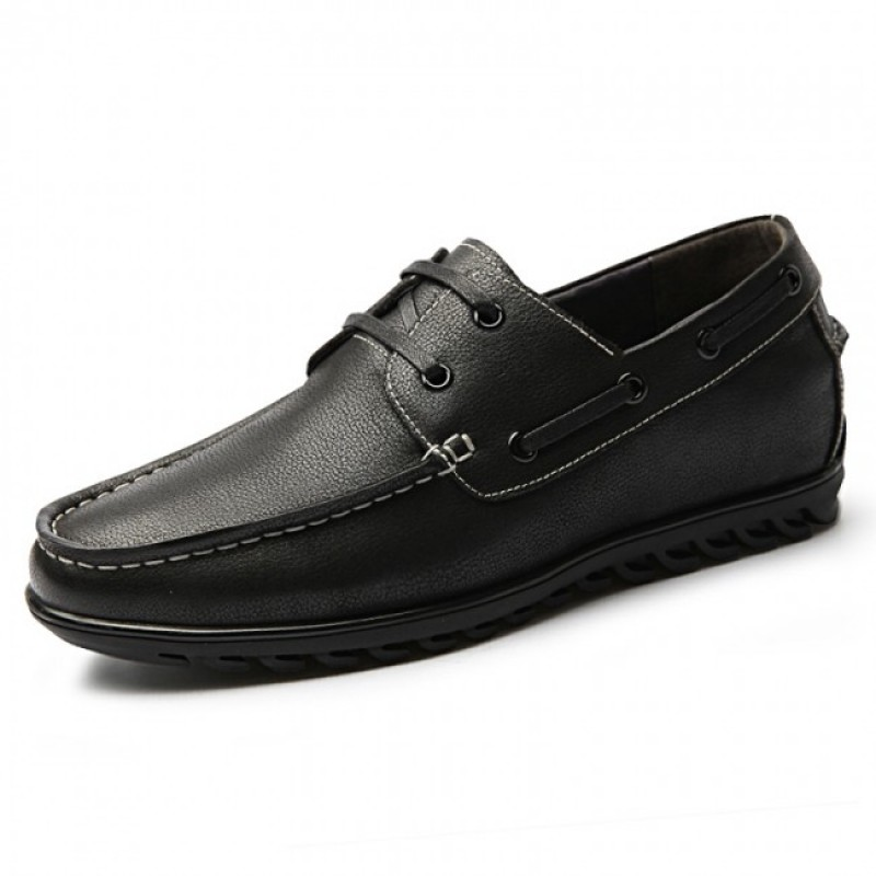 2.2Inch / 5.5cm Retro Black Leather Lace Up Elevator Boat Shoes