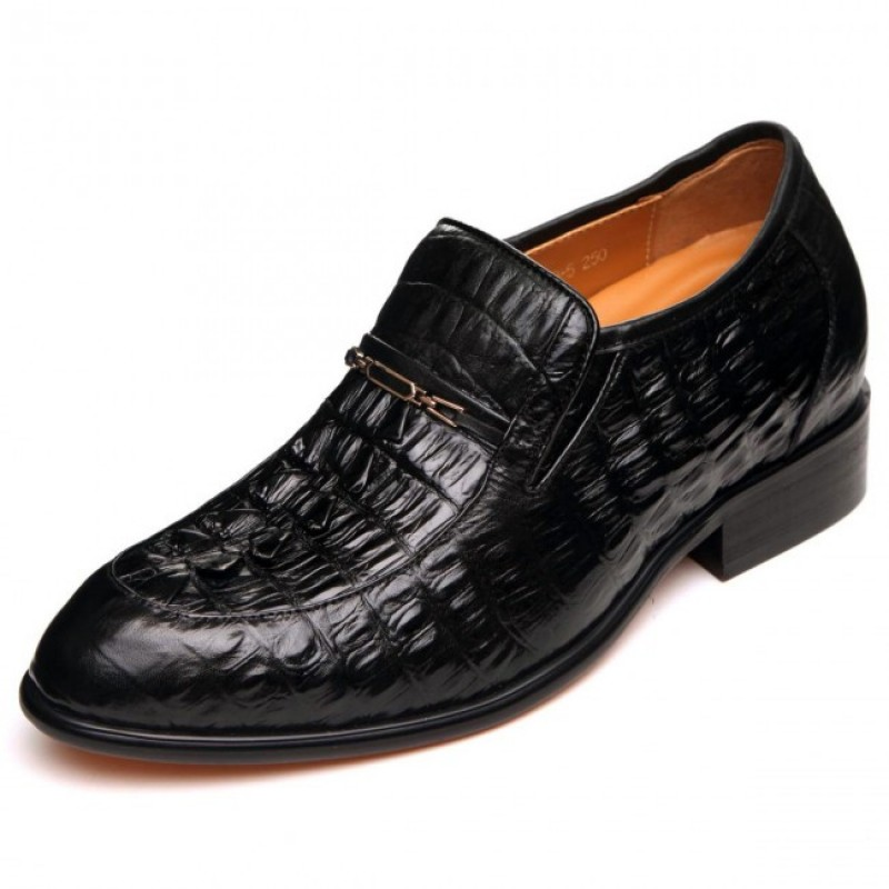 New 2.56Inches/6.5CM Black crocodile Leather Elevator Business Office Shoes