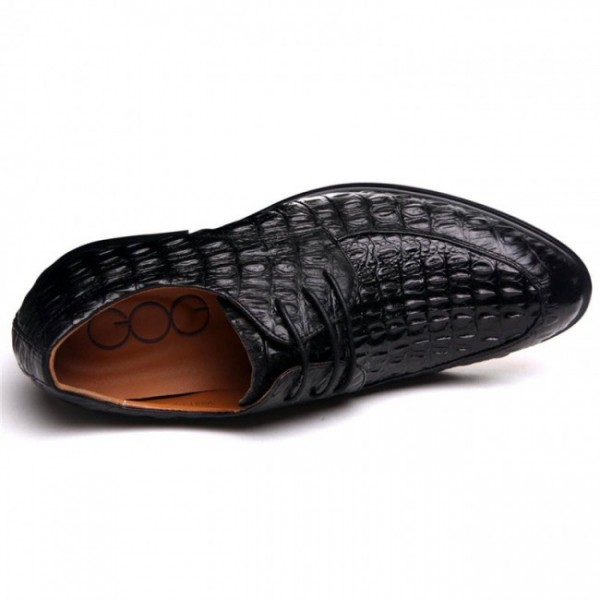 Popular handmade crocodile Formal Shoes Increase Height 2.56Inches/6.5CM Lace-Up Dress Shoes