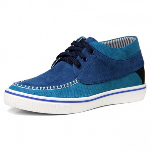 2.2Inches/5.5CM Blue Canvas Height Increasing Trainers Elevator Boat Shoes