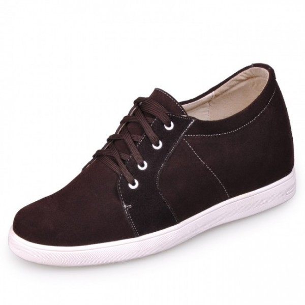 Men 2.75Inches/7CM Coffee Wool Lining Height Shoes