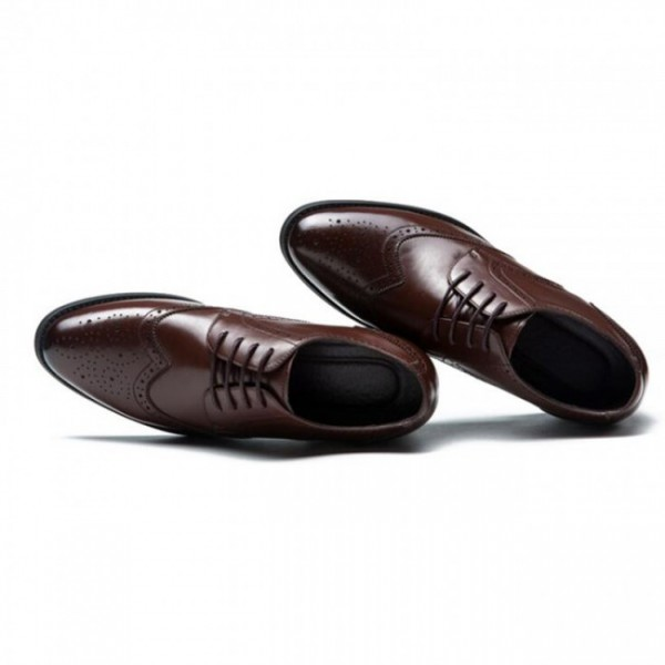 2.36Inches/6CM Brown Brogue Business Elevator Shoes