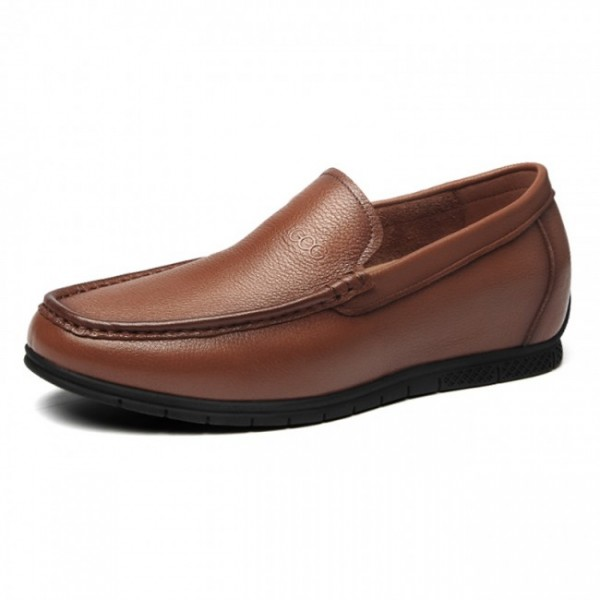 2.2Inch / 5.5cm Brown Elevator Loafers Soft Cowhide Slip On Driving Shoes