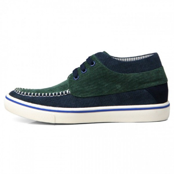 2.2Inches/5.5CM Green Canvas Elevator Height Increasing Trainers Boat Shoes