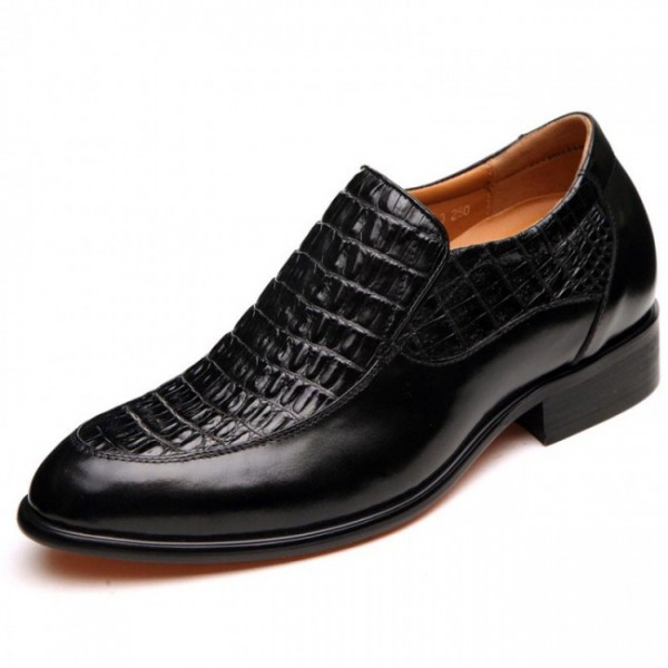 Tailor-made2.56Inches/6.5CM Black Crocodile Formal Height Increasing Shoes
