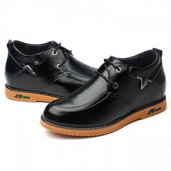 Breathable 3.2Inches/8CM Black Soft Sole Lace Up Elevator Shoes