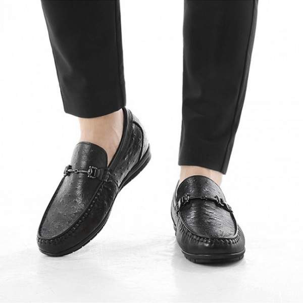 2.2Inch / 5.5cm Black Elevator Driving Loafers Ostrich Hidden Lift Boat Shoes