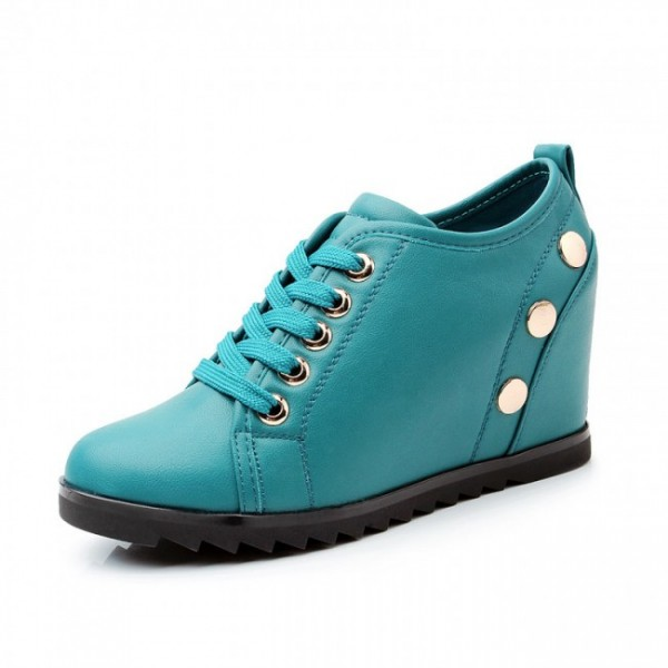 Women Casual 3.15Inches/8CM Korean Rivet Height Increasing Elevator Shoes