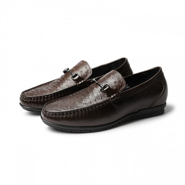2.2Inch / 5.5cm Brown Ostrich Elevator Driving Loafers Hidden Lift Boat Shoes