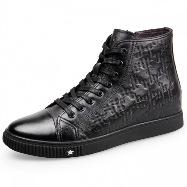 2.2Inches/5.08CM Hidden Heel Calfskin High Top Elevator Walking Shoes