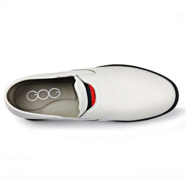 2.2Inch / 5.5cm White Height Increasing Driving Shoes Slipper