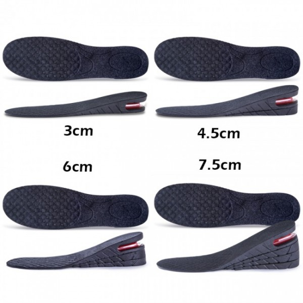 Unisex Adjustable 3CM -7.5CM Insoles Shock Absorption Elevator Inserts