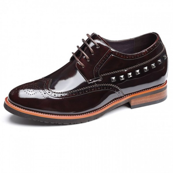 Yuppie 2.75Inches/7CM Hidden Heel Coffee Brogues Formal Oxfords Shoes