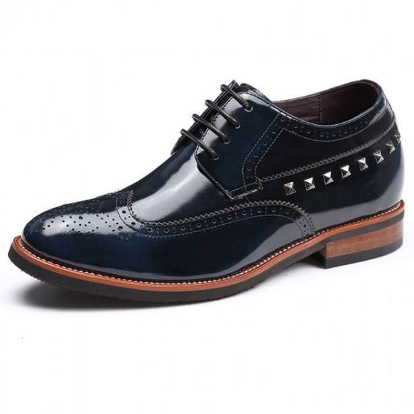 Yuppie 2.75Inches/7CM Hidden Heel Blue Brogues Formal Oxfords Shoes