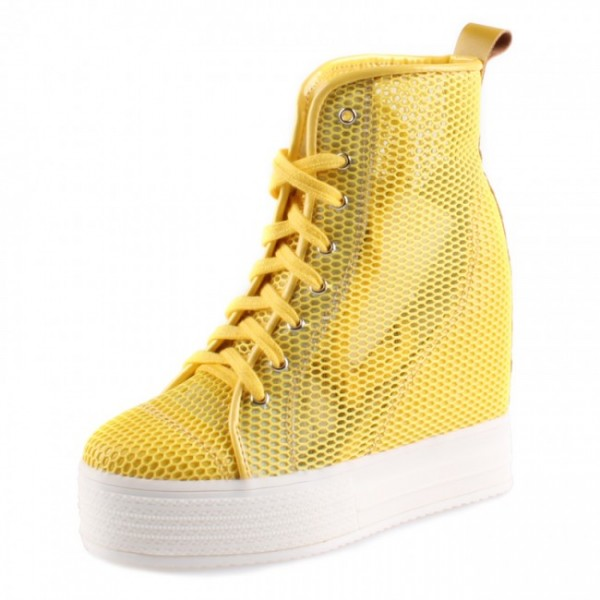 Women Breathable 4.7Inches/12CM Leisure Sports Height Increasing Mesh Elevator Shoes