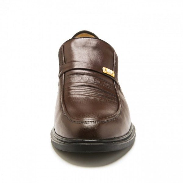 2.17 Inches/5.5CM Brown Europe Leather Height Increasing Formal Shoes