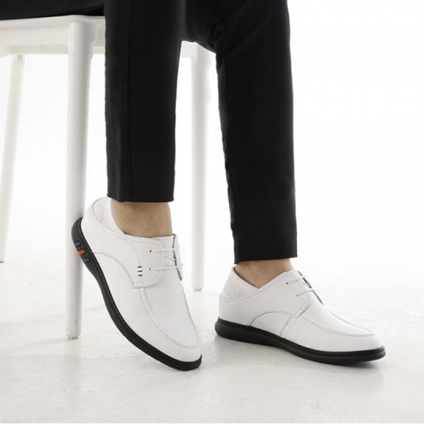 2.2Inch / 5.5cm White Elevated Driving Shoes Lace Up Comfort Slipper