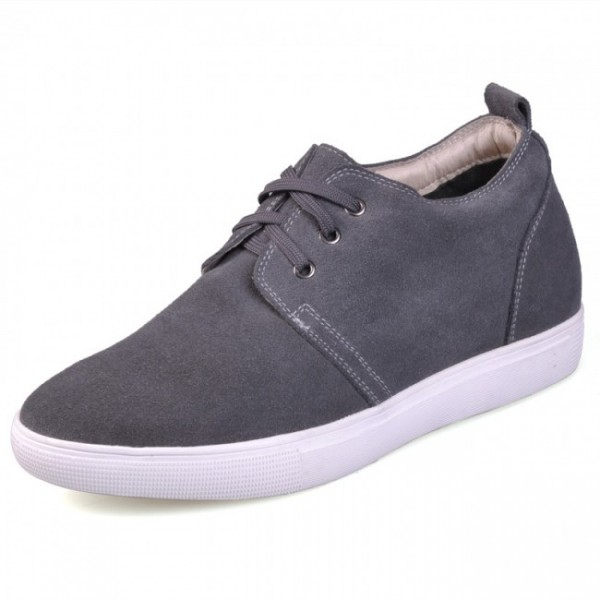 Highest Quality 2.36Inches/6CM Grey Leather Elevator Casual Shoes