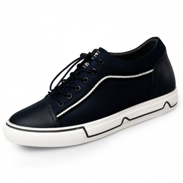 2.2Inches/5.5CM Height Increasing Dark Blue Canvas Shoes Lace Up Sneakers